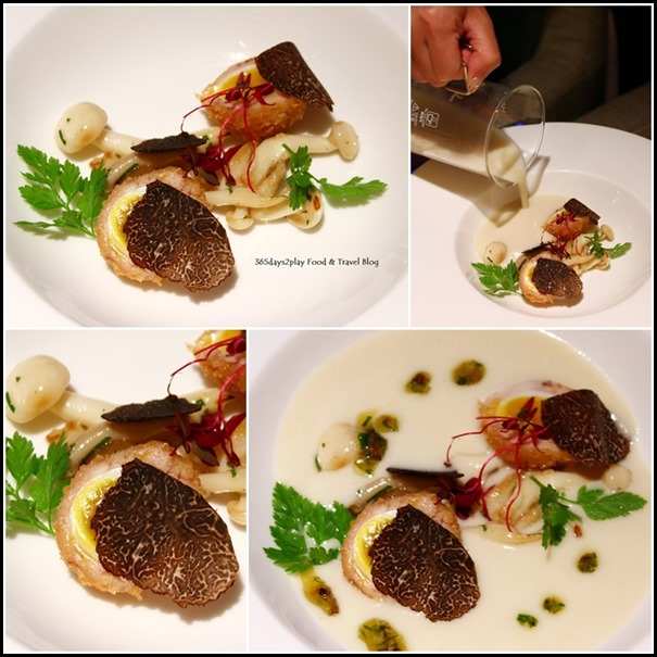 Osia Restaurant - Cauliflower Soup (Quail Scotch Egg, Pickled Mushroom, Truffle) $22 (3)