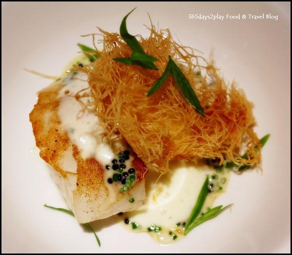 Osia Restaurant - Seabass (Brandade, Organic Egg, Smoked Potato Espuma, Avruga