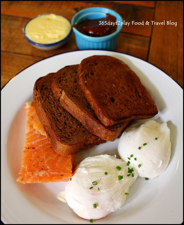 The Lokal - Pimp my breakfast (Pumpernickel, Poached Eggs, Smoked Salmon, home-made peanut butter) $17.50
