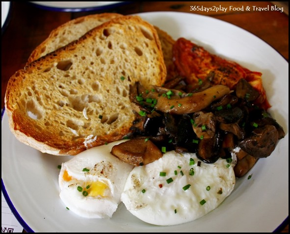 The Lokal - Pimp my breakfast (Toasted sourdough, poached eggs, sun-dried tomatoes, sauteed mushrooms) $17 (3)