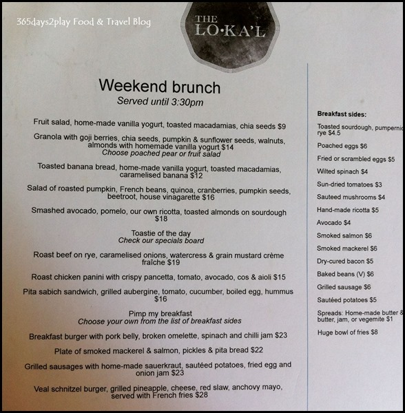 The Lokal's Brunch Menu