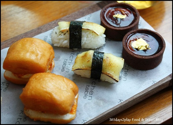W Singapore T Time - Chilli crab mantou, Torced Double Brie Nigiri, Chocolate Foie Gras Ganache