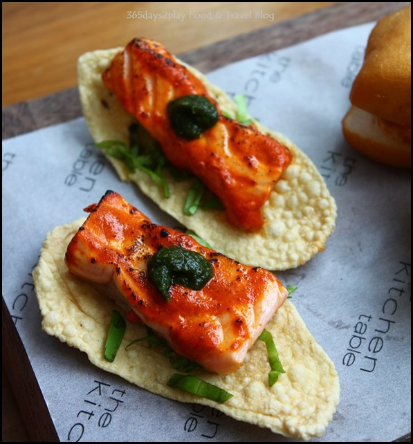 W Singapore T Time - Tikka Inspired Salmon Mint and Spiced Papadum