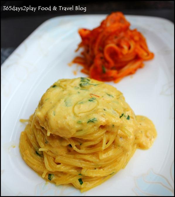 Burlamacco - Angel Hair served with Sea urchin and Saffron Cream Sauce $26