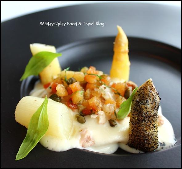 Jaan - Milk Poached White Asparagus, organic egg yolk, burnt bread, grenobloise (1)