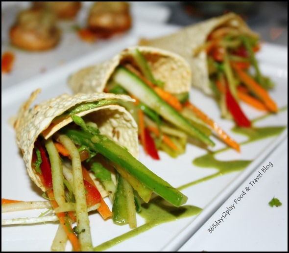 Pappadum Cones - Crispy Pappadum cone filled with veggie relish (2)