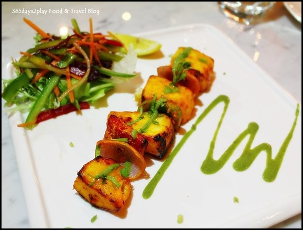 Tawa Wali Fish - Butter fish cubes glazed with coconut and curry leaves paste and grilled on Hot plate