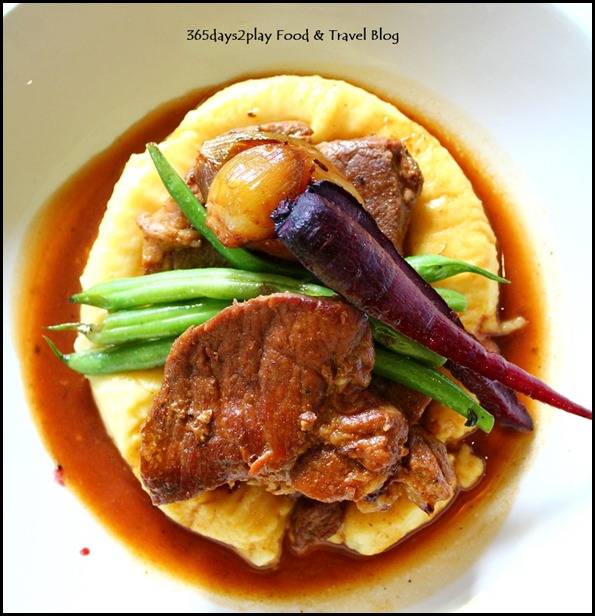 Mavises' Kitchen - Roast Pork Collar with dutch cream potato mash, caramelised onion, purple carrots, green beans and pork jus $28.5