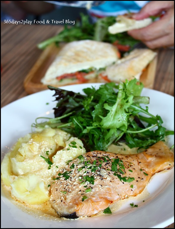 Refuel Cafe - Baked Salmon fillet with mash potatoes, creamy spicy sauce & salad $13.50