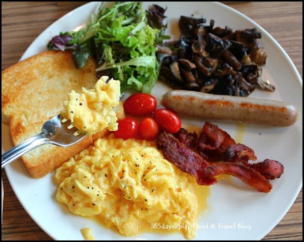 Refuel Cafe - Full Tank (Bratwurst, bacon, scrambled eggs, mushrooms, toast, tomatoes, potatoes & salad) $13.90 (3)