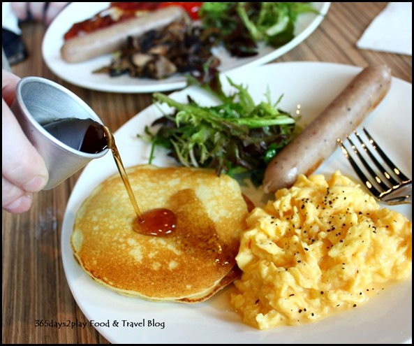 Refuel Cafe - Refuel Pancake with bratwurst sausage and scrambled eggs $9 (3)