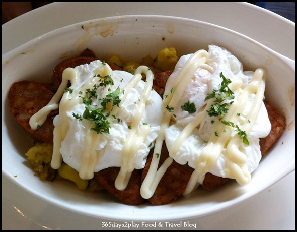 Roosevelt Cafe - Eggs Roosevelt (Poached egg, chorizo, lemon garlic mayo, smashed potato) $17