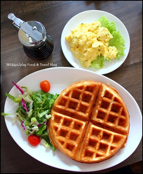 Roosevelt Cafe - Ham and Triple Cheese Waffles with smoked ham, mozarella, cheddar and parmesan $14