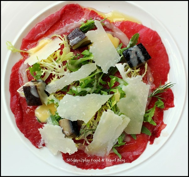 Zafferano - Carpaccio of wagyu beef, portobello mushroom salad, parmesan cheese and mustard dressing (1)