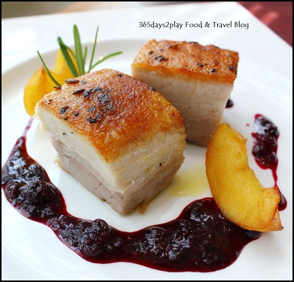 Zafferano - Slow-cooked iberico pork belly, caramelized red apples with thyme, berry sauce (1)