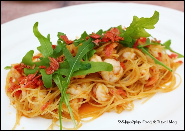Antoinette - Shrimp Capellini $26.00 Capellini pasta with sea shrimp, Sakura ebi and crustacean oil