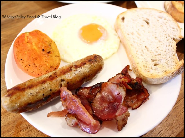 Oh Deli - English Breakfast (Kurobuta bacon, sunny side up, english pork sausage, sourdough) $12.90