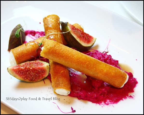 Salt Grill New Year's Eve Menu - Cigar of whipped goats cheese, beetroot hummus, fig