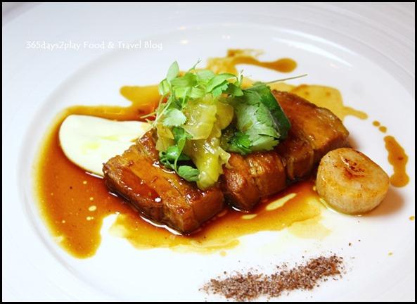 Salt Grill New Year's Eve Menu - Star anise pork belly, seared scallops, cauliflower puree, pickled cucumber (1)