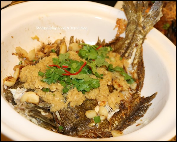 Quayside Seafood Baked Turbot Fish with Whole Garlic in Claypot