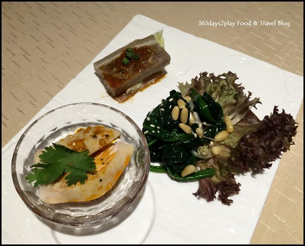 9Goubuli - Appetisers of Shanghainese style drunken chicken, pork terrine and spinach with pine nuts