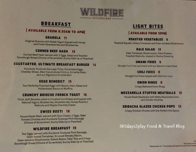 Wildfire Bakery Cafe Menu