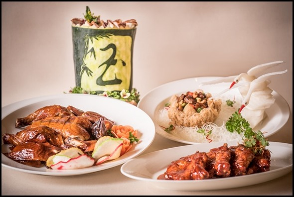 Group Shot- Double boiled winter melon soup, Roast Chicken, Kung Pao Chicken with Cashew Nuts served in Buddha's Bowl, Pork King Ribs