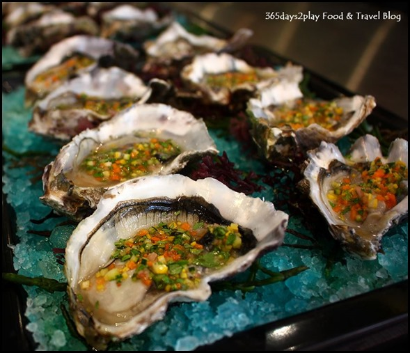 Justin Quek Mod Sin - Pacific Oysters in Ginger Flower Dressing