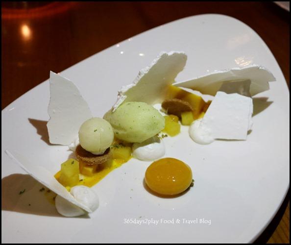 ME@OUE - Vacherin (Mango, Pineapple & coriander, Bergamot Sorbet, Vanilla Meringue) $15