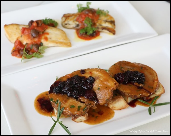 Zafferano Brunch - Slow cooked pork belly (front) and oven-baked seabass with tomatoes, olives, capers and fresh herbs (back)