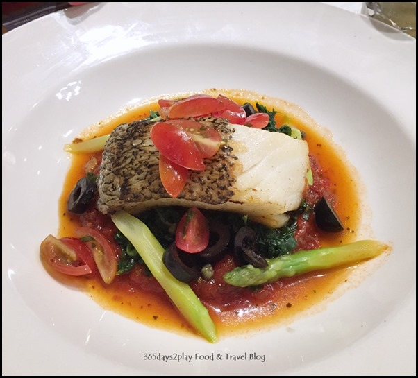 Paul Singapore -  Cod fillet served on spinach and Mediterranean sauce