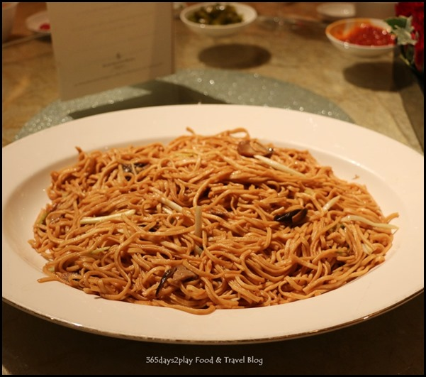 Four Seasons Hotel Wedding Dinner - Braised E-fu noodles with straw mushrooms and chives