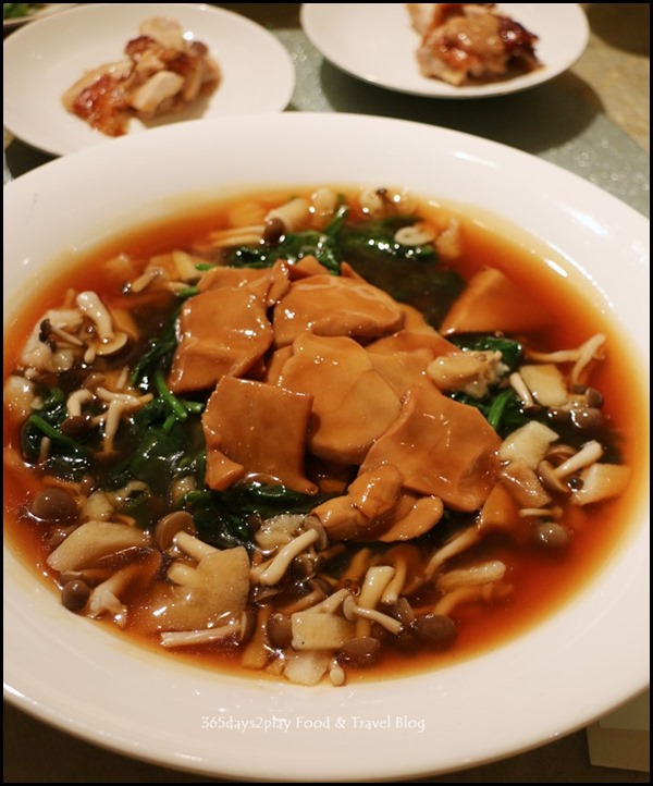 Four Seasons Hotel Wedding Dinner - Braised Sea Whelk and Bamboo Pith with truffle oil and seasonal greens