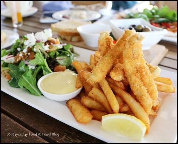 Olio Bello Cafe - Augusta crumbed whiting, salad and beer battered chips $27 (1)