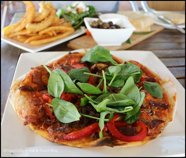 Olio Bello Cafe - Venison Chorizo with Italian passata sauce, caramelised onion, roasted red capsicum, mozzarella, basil $20 (1)