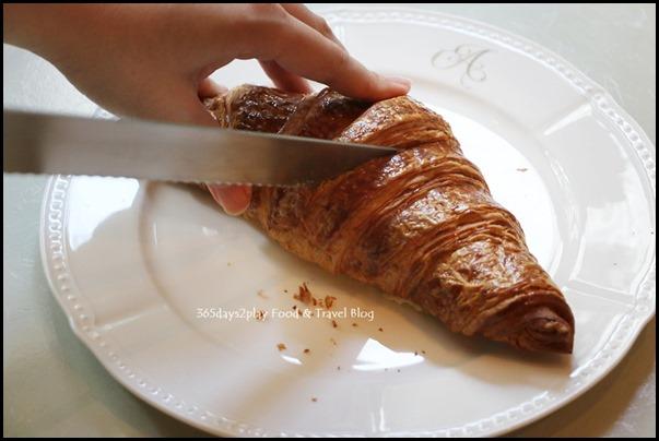 Cutting a croissant