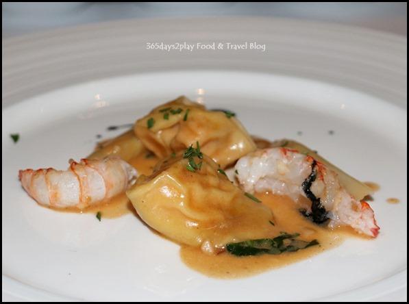 Marriott Pool Grill - Lobster ravioli, langoustine, white asparagus, squid ink sauce