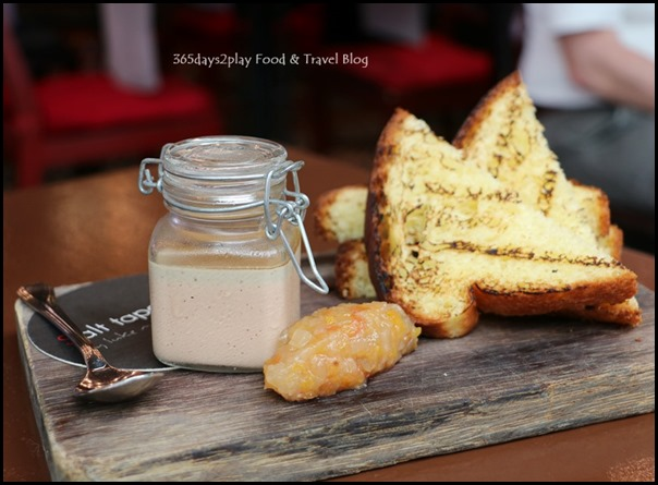 Salt Tapas Bar - Chicken liver & foie gras parfait, pear chutney, toasted brioche - $19