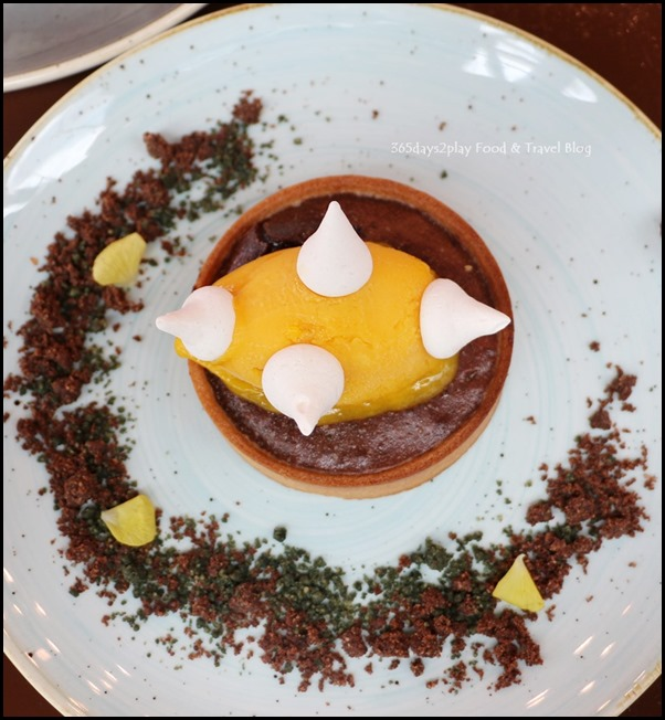 Salt Tapas Bar - Gooey chocolate tart with mango sorbet - $14