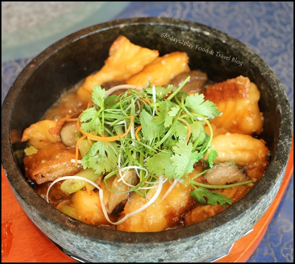 WOK˚15 Kitchen - Grilled Garoupa Fillet with Beancurd Skin served in Stone Pot $32