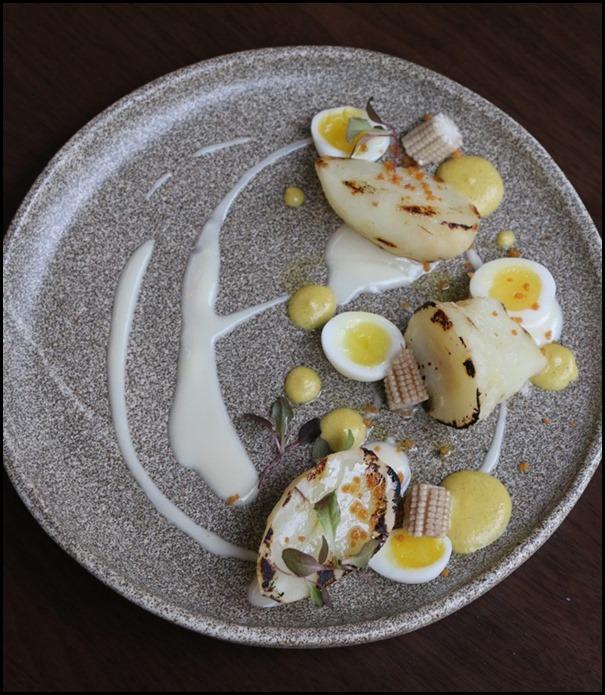 Bridge - Jerusalem artichoke and kombu buttermilk (Pickled baby corn, smoked quail egg, andalusian cream)  $18