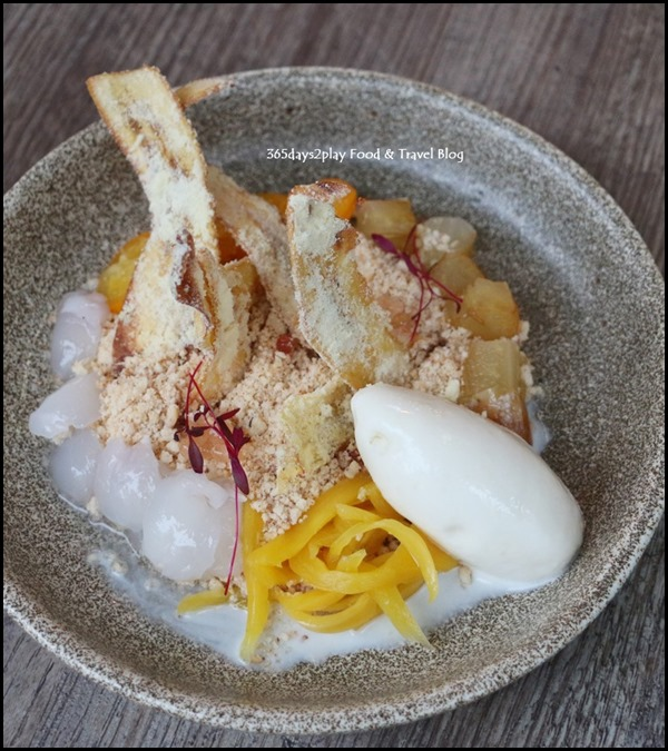 Bridge - Native Fruits of Singapore (Local fruits, culture cream, almond crumbs, okinawa organic tofu gelato, smoked granny smith juice) $18