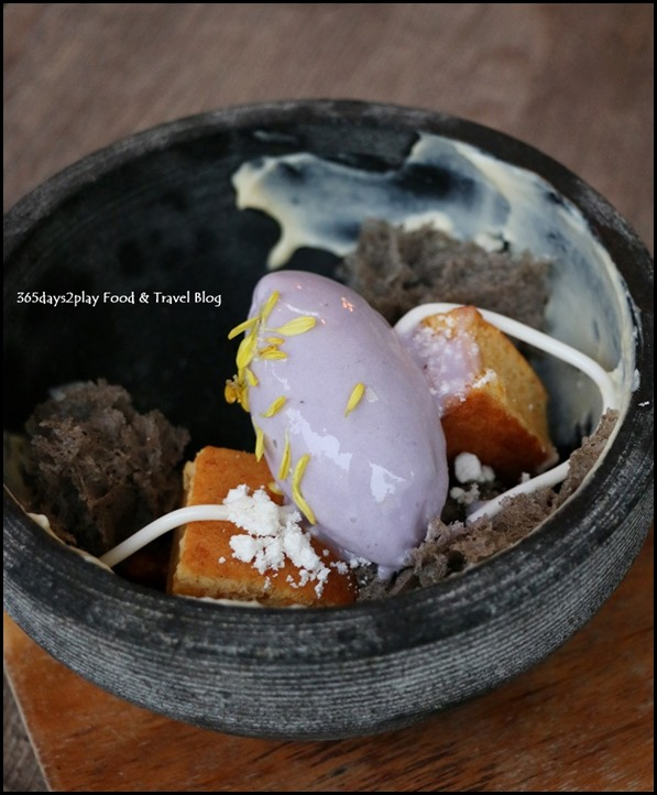 Bridge - Sweet Potato Cake with Honey Cider Custard (Coconut jelly, sesame micro sponge, purple sweet potato gelato) $16 (2)