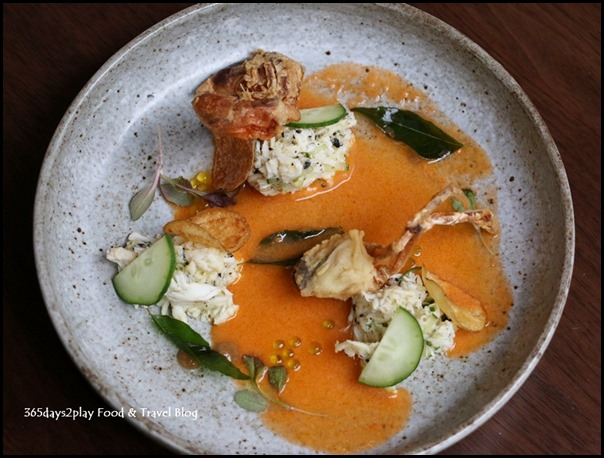 Bridge - Textures of Crab (Umami gazpacho, potato crisps, black garlic droplets) $20