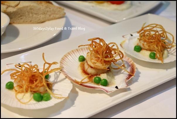 Lamont's - Seared Esperance half shell scallops, fennel cream, pease & crisp potato $21.50 (2)