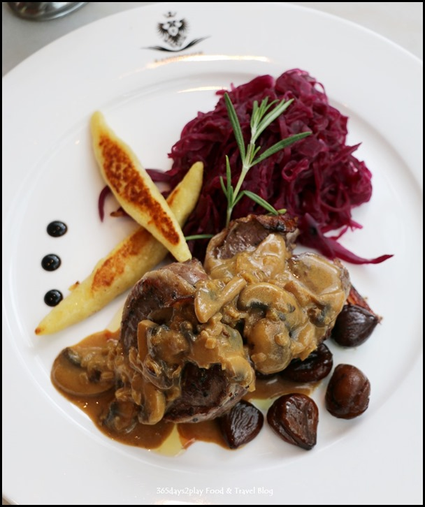 Kaiserhaus - Hirschsteak (Venison Steak loin wrapped with bacon served with schupfnudeln, apple red cabbage and caramelized chestnuts) $42 (1)