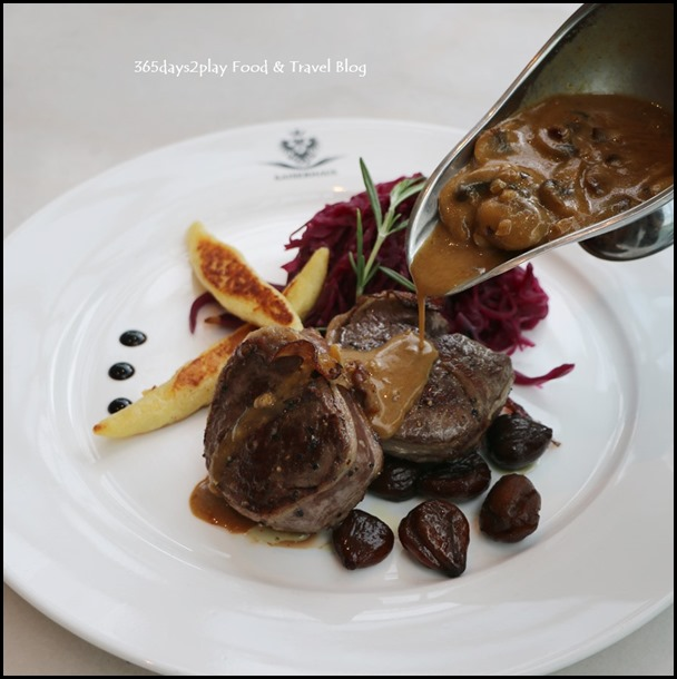 Kaiserhaus - Hirschsteak (Venison Steak loin wrapped with bacon served with schupfnudeln, apple red cabbage and caramelized chestnuts) $42 (4)