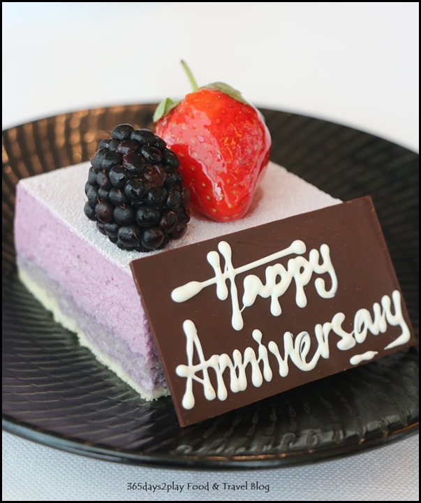 Ritz Carlton Summer Pavilion - Happy Anniversary Blueberry mousse cake