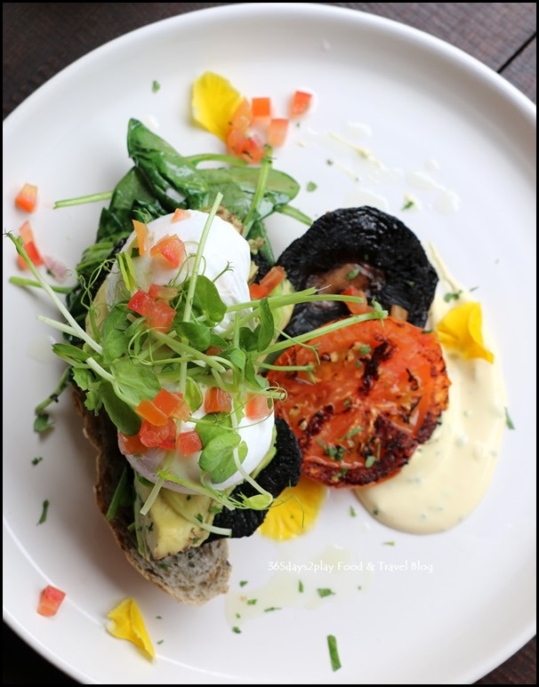 Botanist - Egg Florentine (portobello mushroom, wilted spinach, avocado, poached eggs, tomatoes, chive hollandaise served on toast) $19 (1)