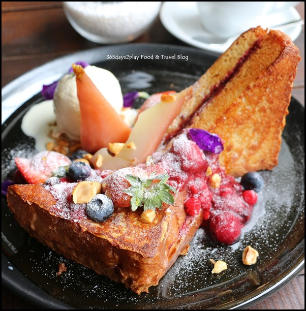Botanist - French Toast (fried brioche, rhubarb berry marmalade, fresh berries, almond flakes, poached pear, vanilla ice-cream) $18 (1)